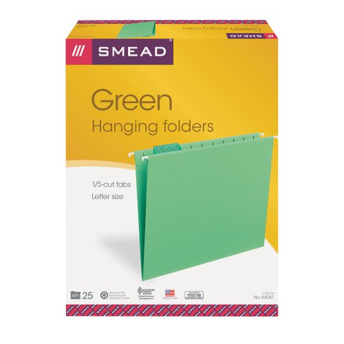 "Smead 64061 Green Colored Hanging Folders With Tabs - Letter - 8.50"" X 11"" - 1/5 Tab Cut - Assorted Position Tab Location - Green - 25 / Box (SMD64061)"