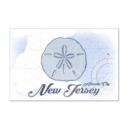 Atlantic City  New Jersey   Sand Dollar   Blue   Coastal Icon   Lantern Press Artwork  12X8 Acrylic Wall Art Gallery Quality