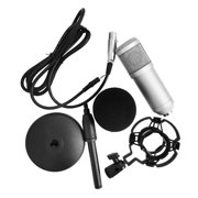 Suzicca -800 Condenser Microphone Portable High Sensitivity Low Noise Mic Kit for Computer Mobile Phone Studio Live Stream Broadcasting Recording with Round Disk Support