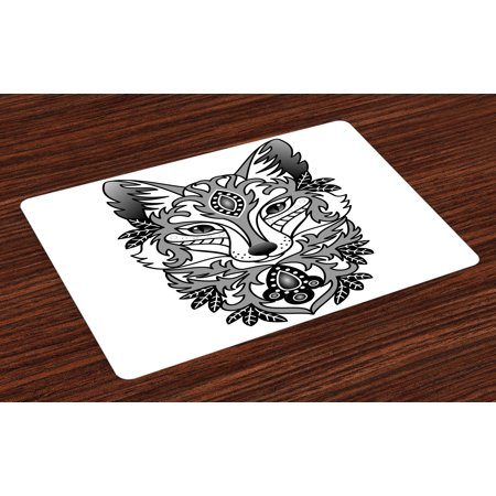 Fox Placemats Set of 4 Ornamental Fox Face with Tree Leaves Oval Shapes Dots Floral Curves Art Print, Washable Fabric Place Mats for Dining Room Kitchen Table Decor,Grey Black White, by