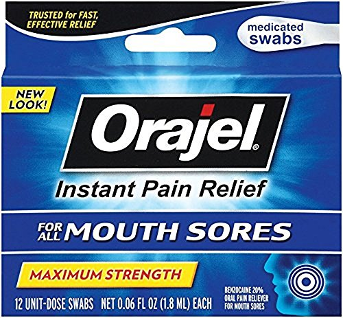 4 Pack - Orajel Medicated Mouth Sore Swabs, Maximum Strength, 12 count Each
