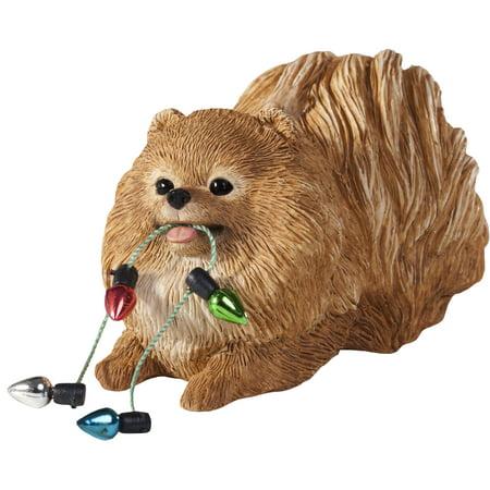 Sandicast Crouching Orange Pomeranian with Lights Christmas Dog Ornament ()