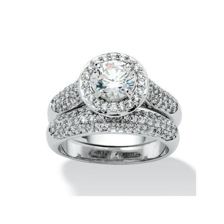 2.30 TCW Round Cubic Zirconia Pave Platinum-Plated Bridal Engagement Ring Wedding Band -