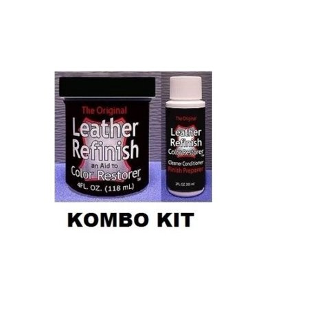 Leather Refinish Color Restorer Dye & Cleaner/Preparer Combo Kit Blue Simulated Leather Cover