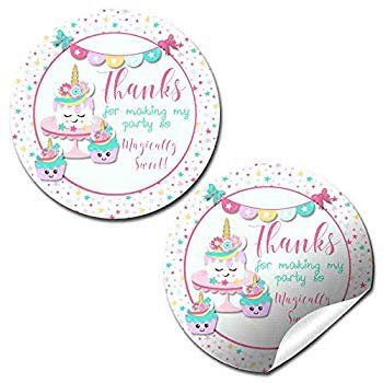 Unicorn Cake Cupcake Magically Sweet Birthday Party Thank You Sticker Labels 40 2 Party Circle Stickers By Amandacreation Great For Party Favors Envelope Seals Goodie Bags Walmart Com Walmart Com