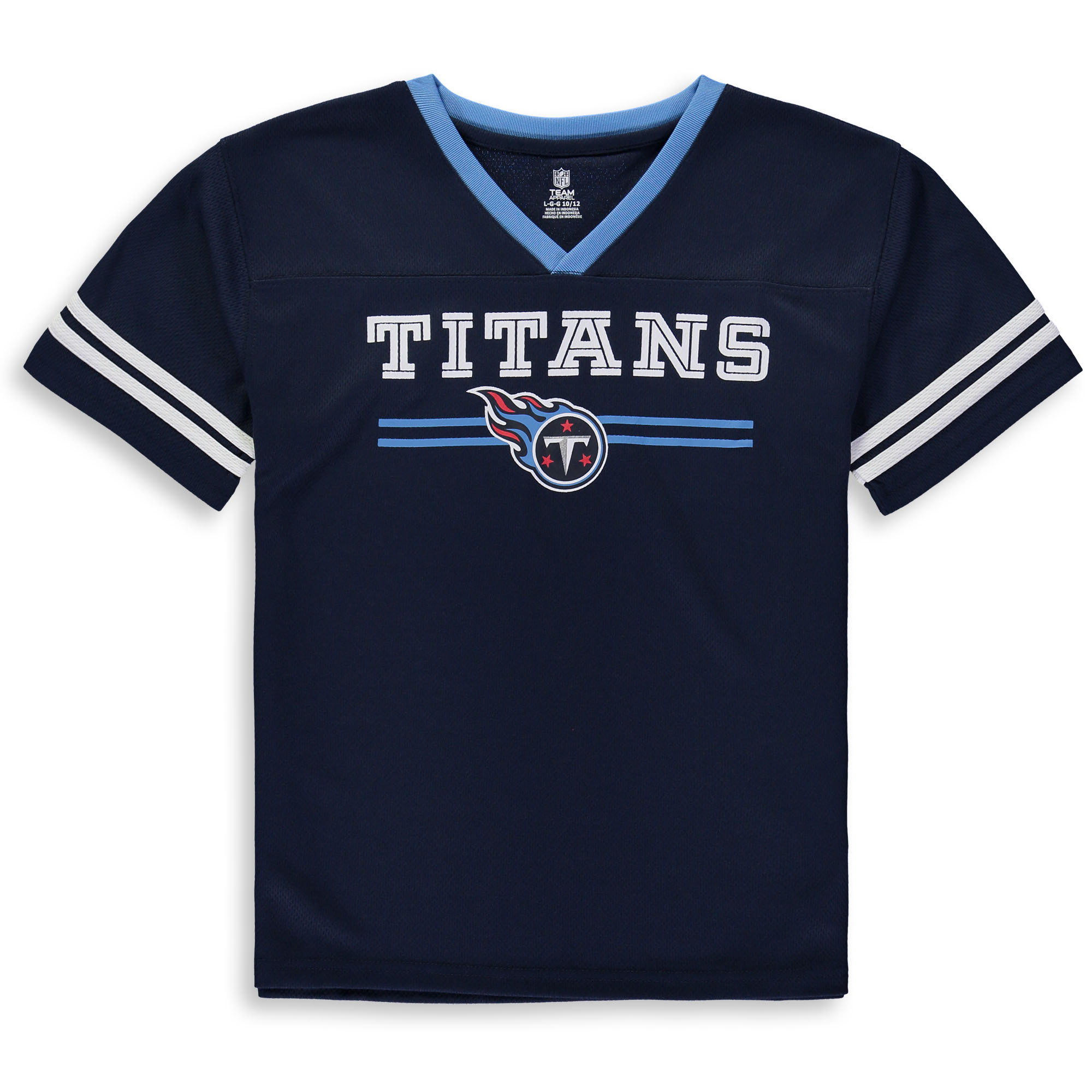 Youth Navy Tennessee Titans Mesh V-Neck T-Shirt