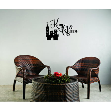 Custom Wall Decal Sticker - King And Queen Fairy Tale Castle Prince Princess Love Home Decor 8x20