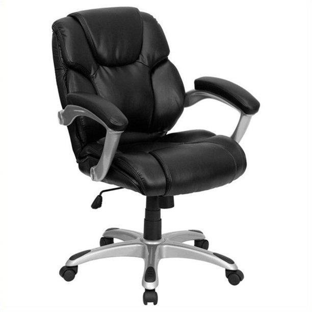 Kingfisher Lane Mid Back Black Leather Office Task Office Chair Walmart Com Walmart Com