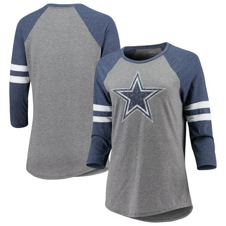 Dallas Cowboys Women's Simba Raglan Long Sleeve T-Shirt - Heathered Gray/Heathered Navy Dallas Cowboys Womens Apparel