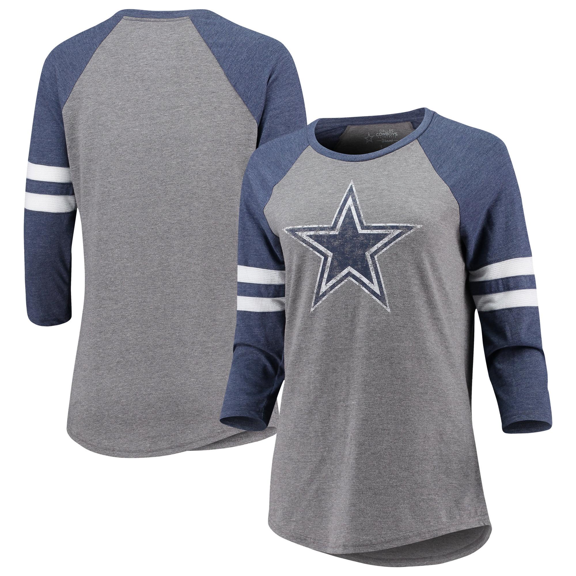 Dallas Cowboys Women's Simba Raglan Long Sleeve T-Shirt - Heathered Gray/Heathered Navy