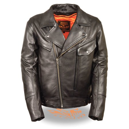 Men's Side Set Belt Utility Pocket Motorcycle Jacket LKM1770 (Utility Motorcycle)