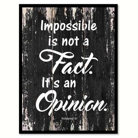 Impossible Is Not A Fact It's An Opinion - Muhammad Ali Motivation Quote Saying Black Canvas Print Picture Frame Home Decor Wall Art Gift Ideas 7