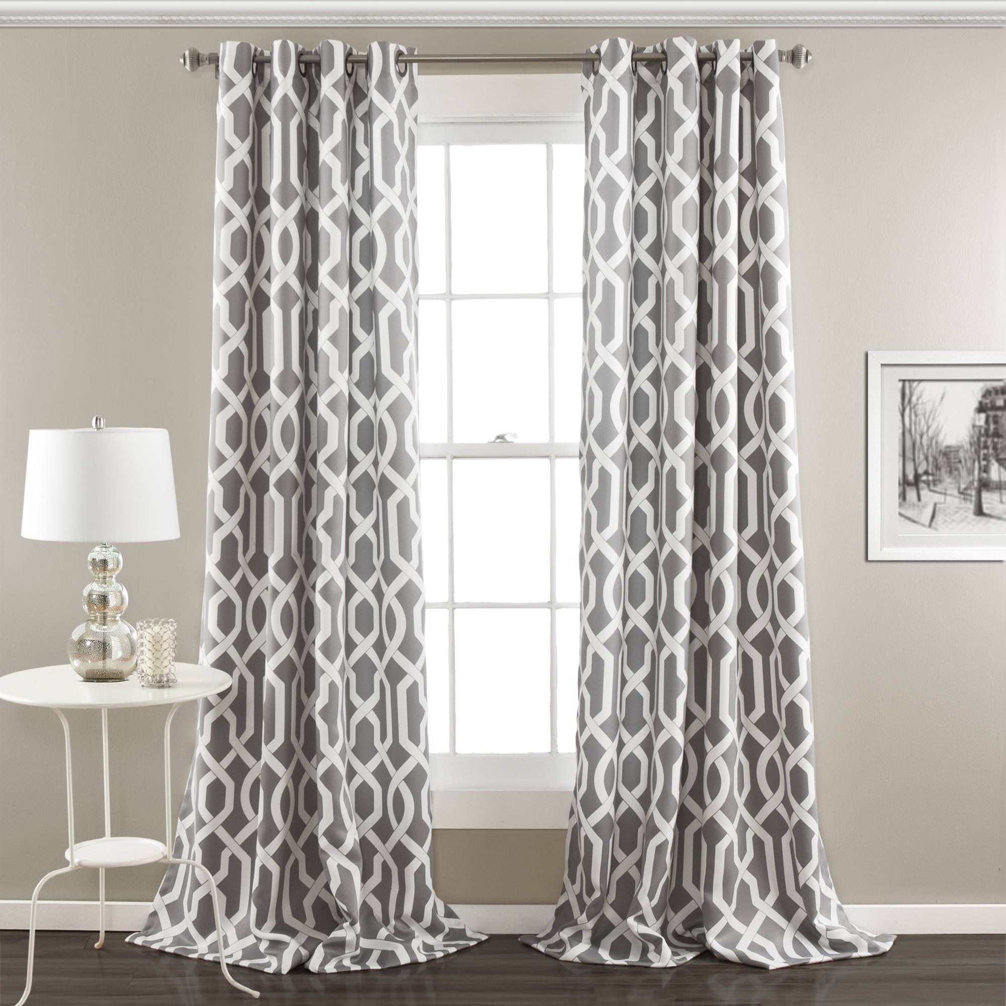 Greek Key Trim Curtains Lavender Room Darkening Curt