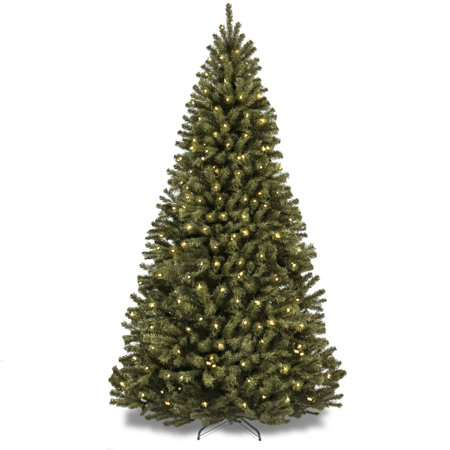 Best Choice Products 6-Foot Pre-Lit Spruce Hinged Artificial Christmas Tree with 250 UL-Certified Incandescent Warm White Lights, Foldable Stand, Green ()