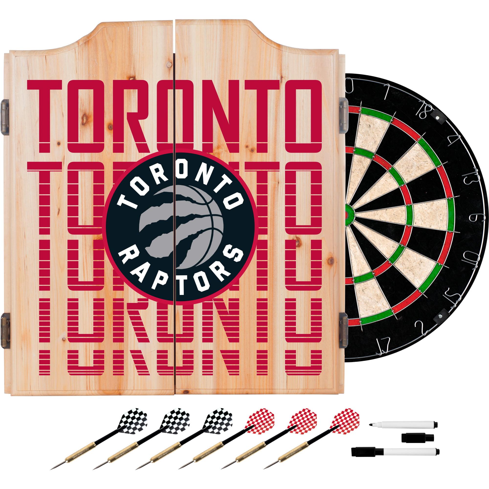 NBA Dart Cabinet Set with Darts and Board - City - Toronto Raptors