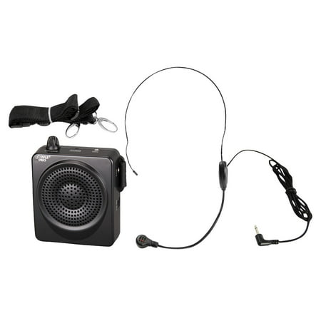 Pyle PWMA50B - Compact & Portable Waist-Band PA Speaker System Voice Amplifier & Microphone Headset with Built-in Rechargeable Battery