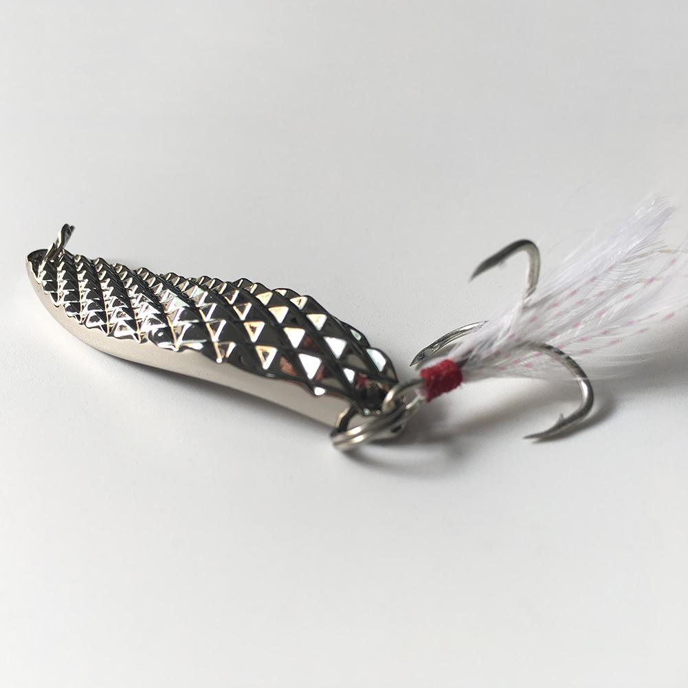 Hard Metal Leech Fish Lure Spinner Spoon Angling Sequins Baits w//Feather //Neu