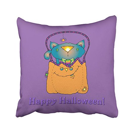 RYLABLUE Halloween Cat In Pumpkin Pillow Covers Cushion Cover Case 20x20 Inches Pillowcases Two Side - image 1 of 1