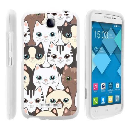 Alcatel Fierce 2, Pop Icon, 7040T, and A564C, [SNAP SHELL][White] Hard White Plastic Case with Non Slip Matte Coating with Custom Designs - Cute Kittens