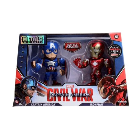 "Iron Man Civil War (4"" METALS Marvel Twin Pack: Iron Man & Captain America from Civil)"
