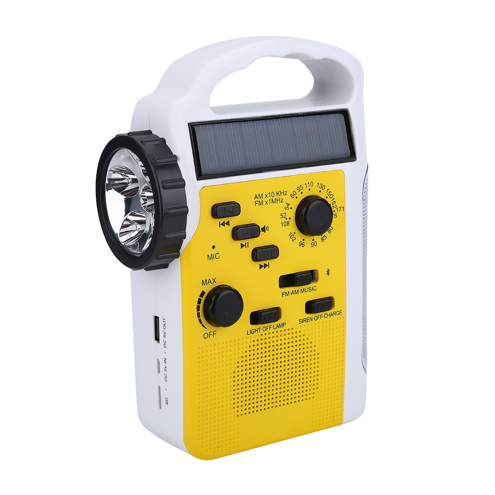 Walfront 2000mAh Solar Powered Emergency AM/FM/SW NOAA Weather Alert Radio with Solar Dynamo Crank Flashlight and Reading Lamp