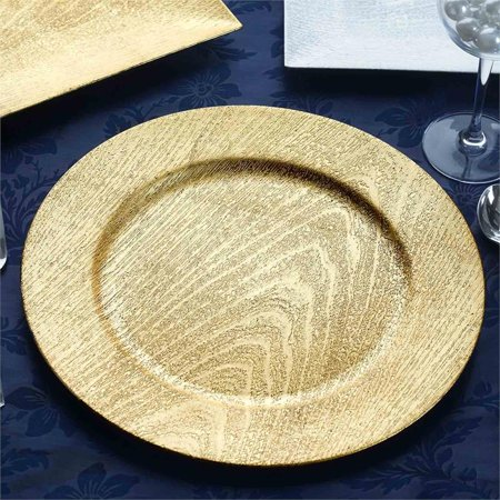 BalsaCircle 24 pcs 13-Inch Wooden Textured Round Charger Plates - Dinner Party Wedding Supplies for all Holidays