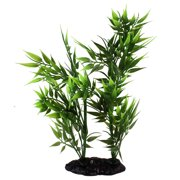 Unique Bargains Aquarium Fish Tank Landscaping Green Artificial Bamboo Plant Decor 9.4""