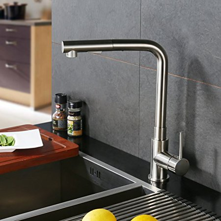 CREA Brushed Nickel Kitchen Sink Faucet, Modern Single Lever Pull Down  Sprayer Basin Mixer Tap