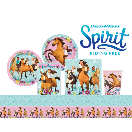 Spirit Riding Free Birthday Party Supplies Pack 16 Guests: Plates, Cups, Napkins, Invitations, Table Cover - Disneyland Halloween Party Rides
