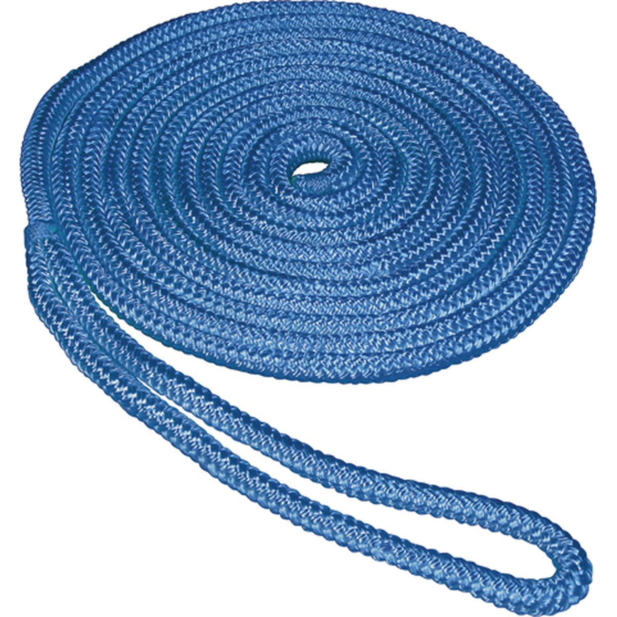 "SeaSense Double Braid Nylon Dock Line, 1 2"" x 15', 12"" Eye, Blue by Generic"