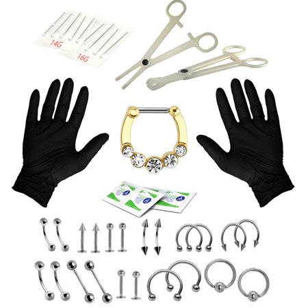- BodyJ4You 36PC PRO Piercing Kit Steel 14G 16G CZ Clicker Crystals Nose Ring Tongue Belly Jewelry