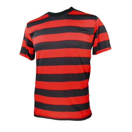 Short Sleeve Red Black Striped Men