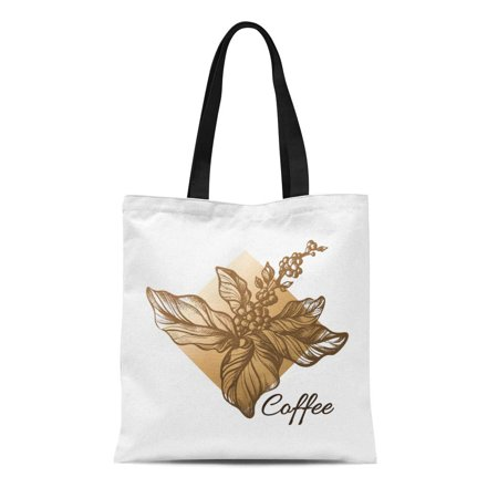 Natural Coffee Tree - ASHLEIGH Canvas Tote Bag Coffee Tree Branch Realistic Leaves and Natural Beans Reusable Shoulder Grocery Shopping Bags Handbag