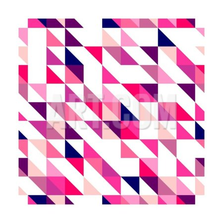 Seamless Vector Pink, Violet and White Pattern, Texture or Background. Colorful Geometric Mosaic. Print Wall Art By IngaLinder
