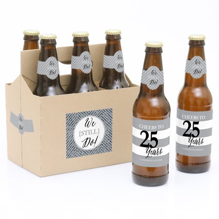 We Still Do - 25th Wedding Anniversary Party Decorations for Women and Men - 6 Beer Bottle Label Stickers and 1 Carrier