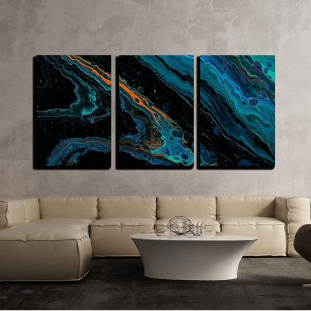 Hand Painted Wall Panels - wall26 - 3 Piece Canvas Wall Art - Closeup View of Hand Painted Abstract Dark Cosmic Grunge Background - Modern Home Decor Stretched and Framed Ready to Hang - 24