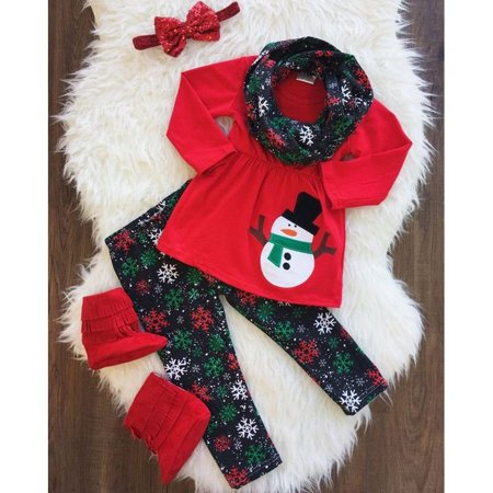 Toddler Kid Baby Girl Xmas Snowman Clothes Outfits Tops Skirt+Pants+Scarf Set ()