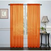 2 Pack: Ultra Luxurious High Thread Rod Pocket Sheer Voile Window Curtains by GoodGram - Pumpkin
