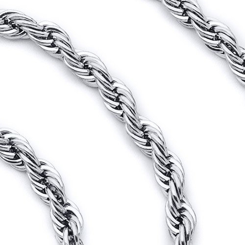 Oravo 5mm Diamond Cut Stainless Steel Rope Chain Necklace