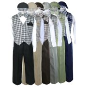 Baby Toddler Boy checks Easter Gingham Christmas Gift Long Vest Set Suits Sm-4T