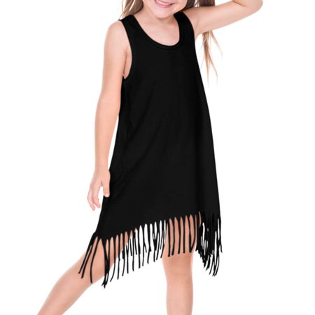9184eb7315266 Girls 3-6X Sheer Jersey Raw Edge Fringe Asymmetrical Tank Dress Black 5/6 -  Walmart.com