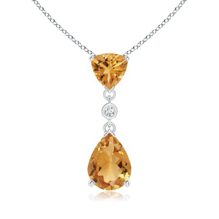 - Mother's Day Jewelry - Trillion and Pear Citrine Drop Pendant with Diamond in 14K White Gold (8x6mm Citrine) - SP1082CTD-WG-A-8x6