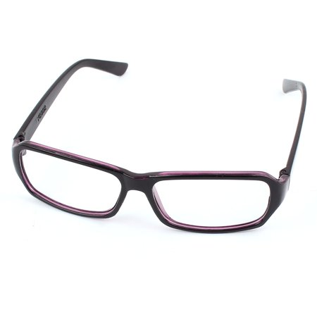 Unisex Full Frame Single Bridge Rectangle Clear Lens Plain Glasses Black Purple ()
