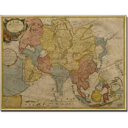 Trademark Art 'Delilse 'Map of Asia, 1700' Canvas Art by Paris Guillaume
