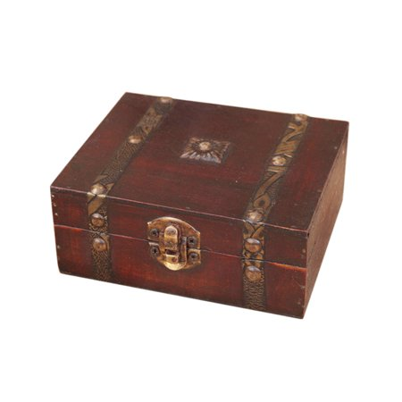 Iuhan Decorative Trinket Jewelry Storage Box Handmade Vintage Wooden Treasure Case