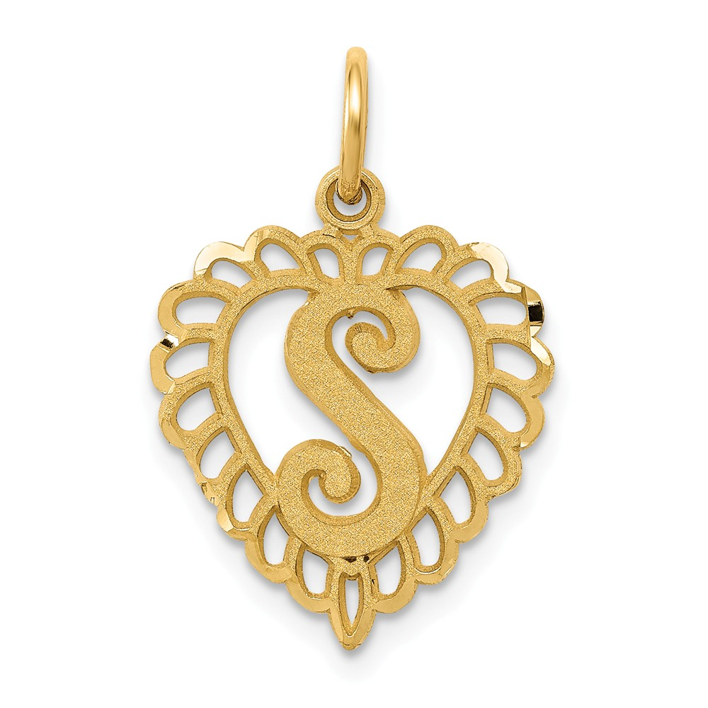 14k Yellow Gold Initial S Charm Pendant