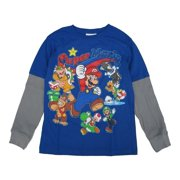 Mario Bros. Little Boys Royal Blue Grey Long Sleeve Shirt 6-8