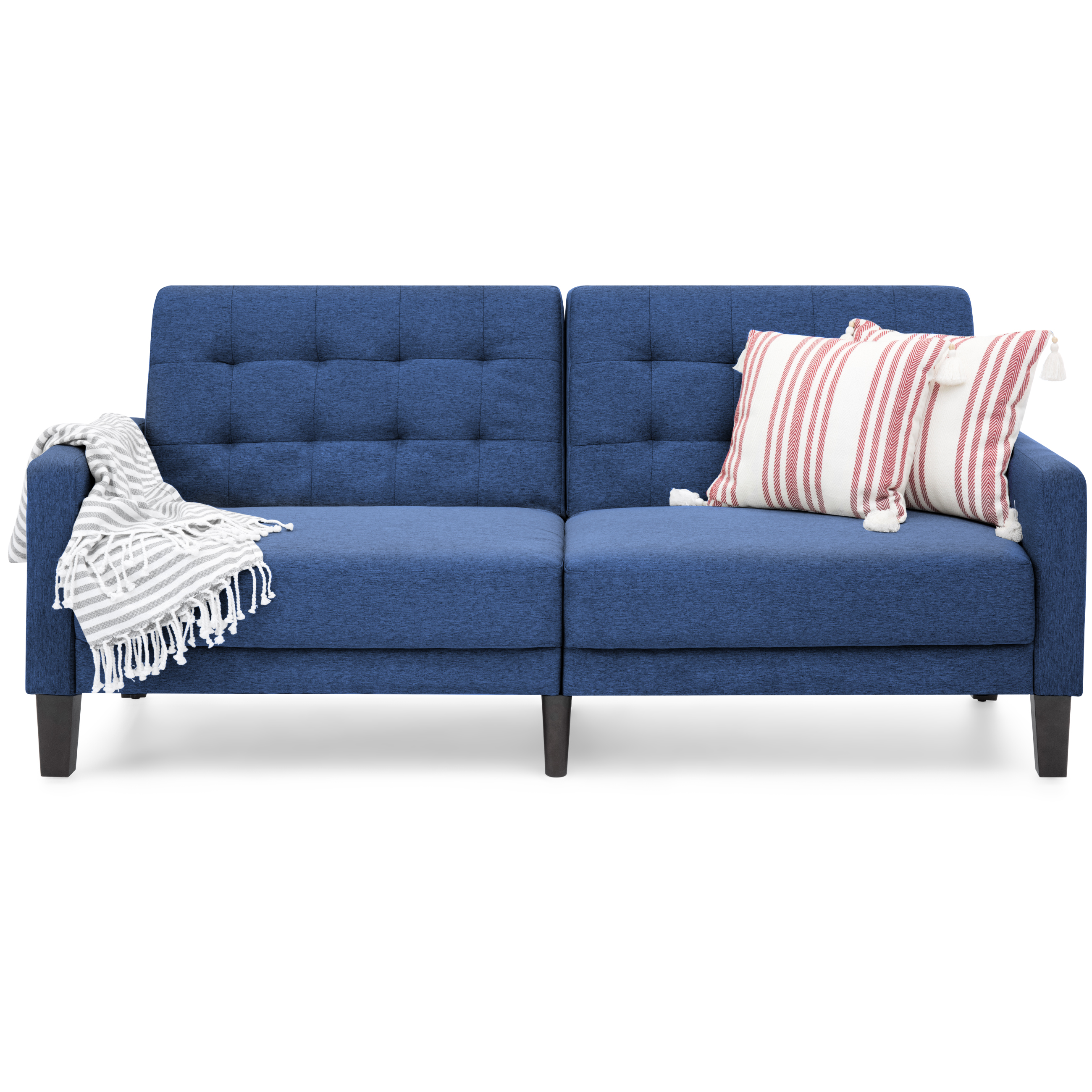 Best Choice Products Convertible Linen Upholstered Split Back Futon (Navy) by