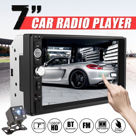 7 Inch Car Stereo 2 Din MP5 Player Car Radio Stereo Receiver bluetooth HD FM AUX Touch Screen With Reverse Camera And Free Phone Call Function Clock Display Remote