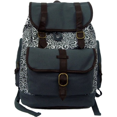 Canvas Laptop Bookbag Vintage Cotton Canvas Daypack Casual Canvas Laptop Backpack Pattern Printed College Student Canvas School Backpack Fit 15 inch Laptop MacBook Chrome Book Ipad Travel Bag Grey